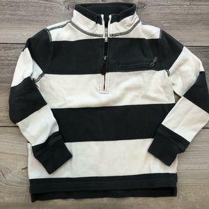 CREWCUTS size 6-7 gray striped popover sweatshirt